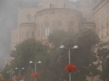 The basilica in the mist